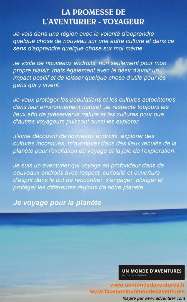 Promesse Aventurier Voyageur