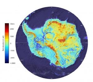 Cartes des élévations de l'Antarctique. Photo: Fretwell et al. / Bedmap Consortium