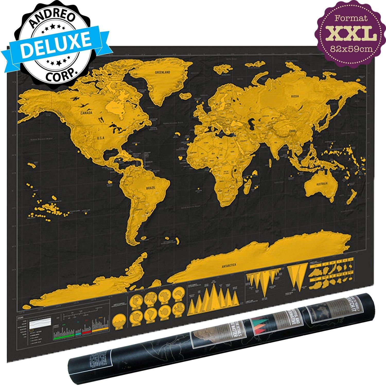 Cette Carte Du Monde A Gratter Imprimee Sur Un Papier De Haute Qualite Stratifiee Dune Couche Doree Elegante Cache Des Pays Aux