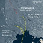 """Jonction imminente entre le """"Lance"""", un navire norvégien et les 2 explorateurs, Mike Horn et Borge Ousland"""